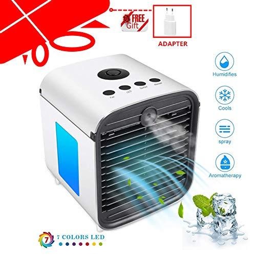 Air Cooler Leakproof Ventilateur d'air portable climatiseur Ventilateur Cool Air Ventilateur Humidificateur d'air et purificateur d'air pour buro, hôtel, cuisine (blanc), blanc