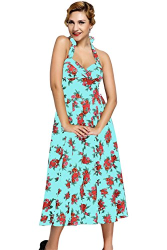 JOTHIN Damen Neck-holder Blumen Kleid ärmellose Strandkleid V-ausschnitt Swing Midikleid Sommerkleid Blau