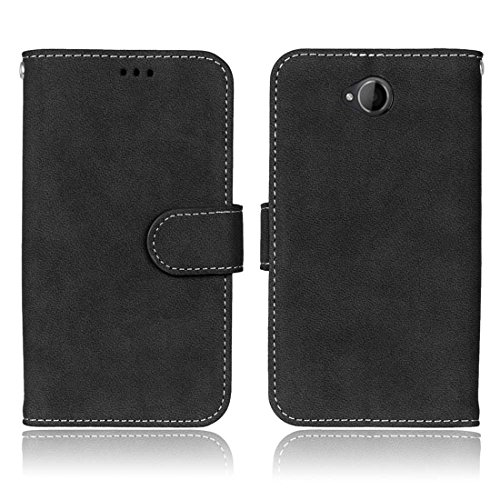 Hozor Nokia Microsoft Lumia 650 Vintage Gebürstetem Ledertasche, Hochwertiges PU Leather-Material, Magnetverschluss, mit [Kartensteckplatz] [Brieftasche Schlitz] [Foto Slot] [Handyhalter]