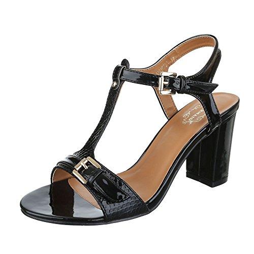 High Heel Sandaletten Damenschuhe Plateau Pump Moderne Schnalle Ital-Design Sandalen / Sandaletten Schwarz
