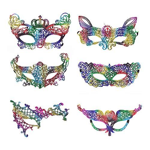 Venedig Muster Karneval Kostüm - Masken Venezianisch Augenmaske aus Spitze Masken für Karneval Maskerade Maskenball Kostüm Damen (6 Tlg)