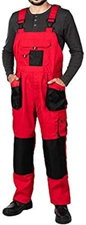 Mens Bib and Brace Overalls, Dungarees Men Black, Big Sizes, Work Trousers for Man, Knee Support with Knee Pads Pockets, Kneepad, Mens Work Trousers, Work Pants, Heavy Duty