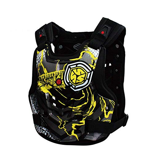 (Yhongyang Motocross Motorrad-Armreihen-Brustschützer zurück reitet,Yellow,XL)