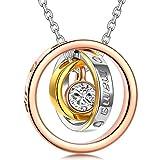 Kami Idea Geschenk zum Valentinstag Halsketten für Frauen Kette für Mutter Ringe Anhänger Gravierte Kreis Swarovski Damen Kette Geschenk für Frauen Schmuck Damen Geburtstagsgeschenk für Mama Partner