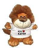 Löwe Plüschtier mit einem T-shirt mit Aufschrift Ich liebe Kathy , Größe 27 cm (Vorname/Zuname/Spitzname)