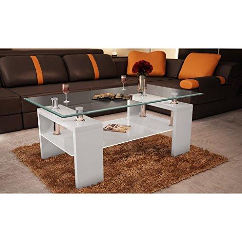 Tavolino basso da salotto rettangolare in vetro bianco