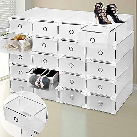 Organiseur à chaussures 9boîtes de rangement en plastique transparent pliables et empilables