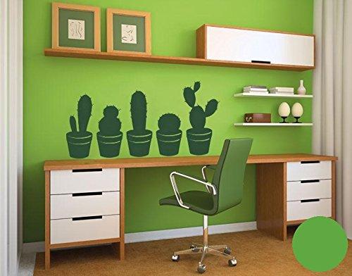 Klebefieber Wandtattoo Kakteen Set B x H: 50cm x 24cm Farbe: hellgrün