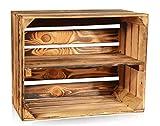 CHICCIE Geflammte Obstkisten - Einzelkiste Lange Ablage Holzkisten Weinkisten Holz Kisten Apfelkisten Obstkiste Gebrannt 50 x 40 x 30cm