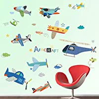 decalmile Aircrafts Wall Decals Boys Kids Room Wall Decor Removable Airplane Wall Stickers for Baby Nursery Childrens Bedroom Playroom