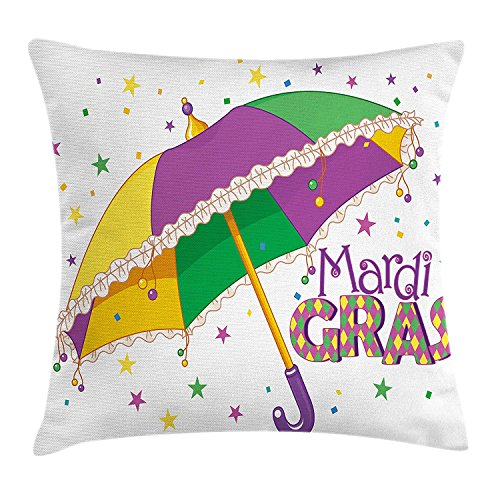 Mardi Gras Throw Pillow Cushion Cover by , Parade Preparations Umbrella Stars Confetti Figures Joyful Fun Party, Decorative Square Accent Pillow Case, 18 X 18 Inches, Purple Yellow Green -