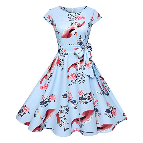 VEMOW Elegante Damen Vintage Bodycon Sleeveless Halter beiläufige Tägliche Abend Party Prom Bow Brautjungfern Swing Dress Faltenrock A-Linie Rock(X3-Blau, EU-42/CN-L)