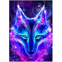 Healifty Diamant Stickerei Malerei-Kit DIY 5D Bild Strass Kreuzstich Set Wanddekoration (Wolf)