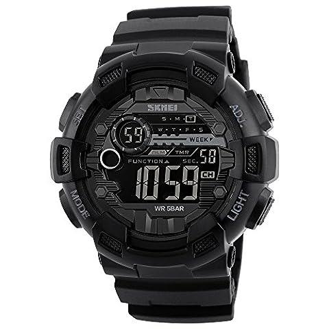 Herren Jacke Randon Military Wasserdicht elektronische Sport Armbanduhr Gummi Band 24h Zeit LED-Licht, Wasser beständig Kalender Datum Tag Uhren schwarz