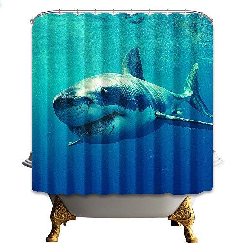 Dekor Meereswelt Serie Grüner Duschvorhang Grün antibakteriell wasserdicht, 180 cm * 180 cm, inklusive Haken (Hai 03) ()