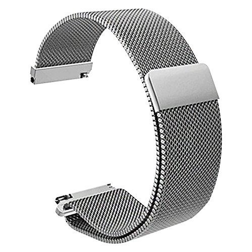 Schnellspanner Uhrband Magnetverschluss Edelstahl-Uhrenarmband Uhrenarmbänder 22mm (silber)