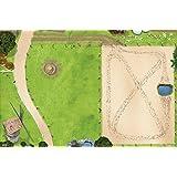 Pferdekoppel / Springplatz Spielmatte (Spielteppich) für das Kinderzimmer - SM09 - Maße: ca. 150 x 100 cm - Zubehör im Maßstab passend für Schleich, Papo, Bullyland, Playmobil etc.