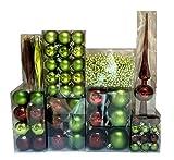 DKB-Tools-Germany 130 - Palline per Albero di Natale, da 3 a 7 cm, Colore: Verde/Rosso/Bordeaux