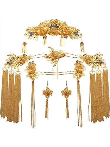 YNYA Diademe Braut Tiara chinesischen Stil Phoenix Hochzeit Schritt Schaukel Kleidung Kostüm alte weibliche Hochzeit Schmuck Hochzeit Kleid Zubehör Geschenk