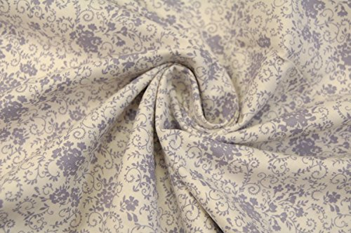 'Coton Motif Fleurs Lilas
