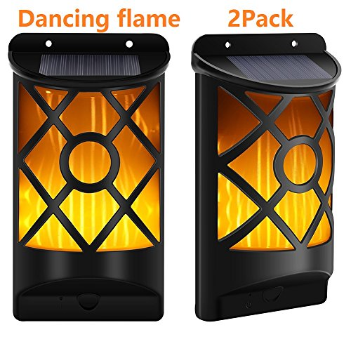 Cinoton Solar Garden Lights 66 LED Dancing Flame Wireless Yard Light|Wall Pack Light|Fence light|Security Lighting (Dusk to Dawn 2 Pack)