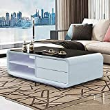 TUKAILAI Modern Black White High Gloss Coffee Table 8mm Black Tempered Glass Top with Storage Drawers, Round Angle, Living Room Modern Furniture, Waiting Area Tables Reception Furniture, 120x60x39cm