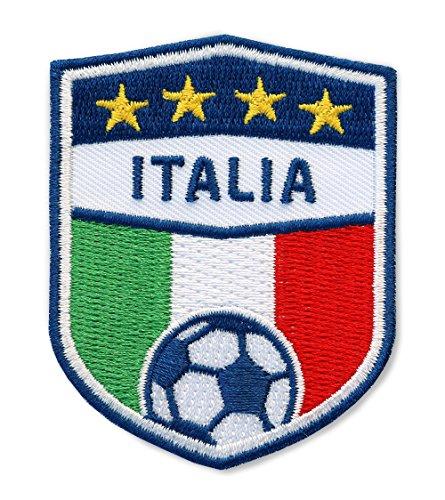 2 x Stick Abzeichen Italien Fußball 70 x 55 mm / Stickerei, Aufbügler, Aufnäher, Applikation, Patch, Bügelbild Sticker für Kleidung, Shirt, Cap, Taschen / Fussball Football Italia National Team Dress Trikot Flagge Fan