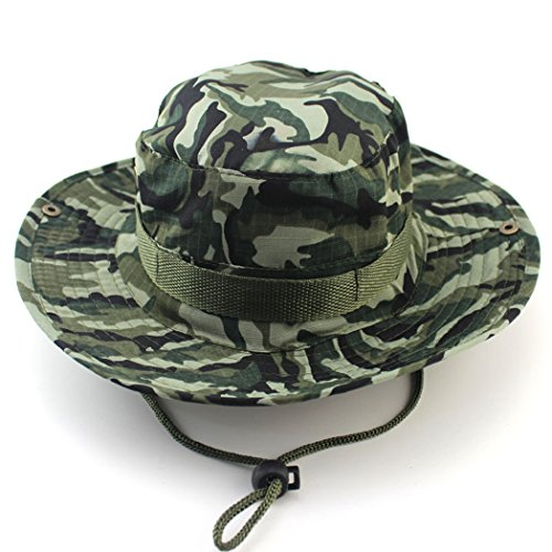 Unimango Anglerhut, Sonnen- und UV-Schutz, schnell trocknend, breite Krempe, für Wandern, Camping, Reisen, camouflage, L (Hut Eimer Camouflage)