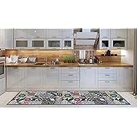 Alfombra Cocina lavable en lavadora, Passatoia Cocina, 52cm x 180cm, Antiácaros, Retro antideslizante, alfombra de cocina Fantasía Geometrica, 100% hecho en Italia, Alfombra de cocina con impresión digital