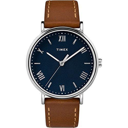 Tan Ton (Timex Men's TW2R63900 Southview 41 Tan/Silver-Tone/Blue Leather Strap Watch)