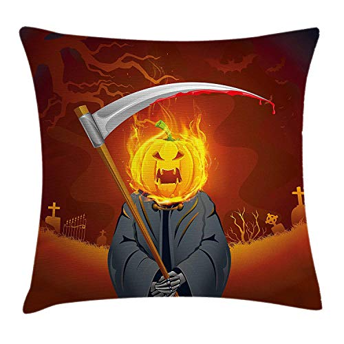 (WYICPLO Halloween Decorations Throw Pillow Cushion Cover, Pumpkin Grim Head with Burning Flames Character Scary Creature Night, Decorative Square Accent Pillow Case, 18 X 18 inches, Orange Grey)