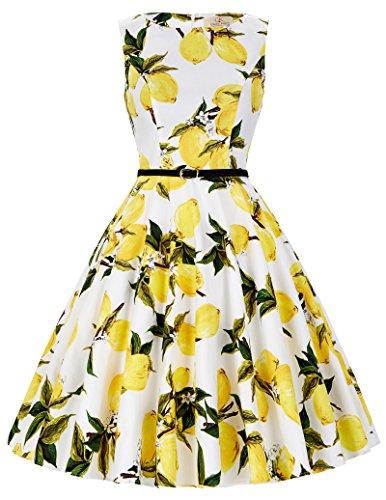 ckabilly kleid petticoat kleid baumwolle festliches kleid elegant swing kleid Größe L CL6086-31 (Zitrone 50er Jahre Kleid)