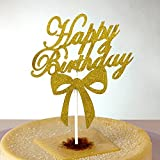 #6: JoyGlobal Pack of 10 Piece/Set Glitter Gold Happy Birthday with Bowknot Cake Decoration Cupcake Cake Topper