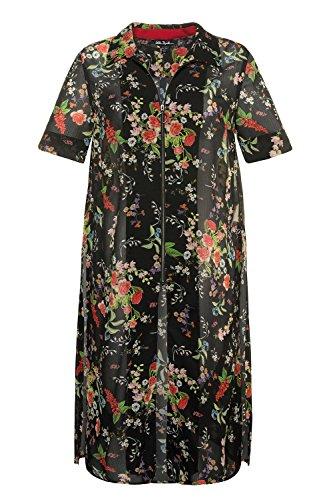 Ulla Popken Femme Grandes Tailles Femmes Occasionnel Manches Longues T-Shirt de Mousseline Tops en Vrac Chemisier 715100 Multicolore