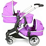 iSafe Tandem Pram me&you - Plum (Purple) + All Raincovers (Baby Product)