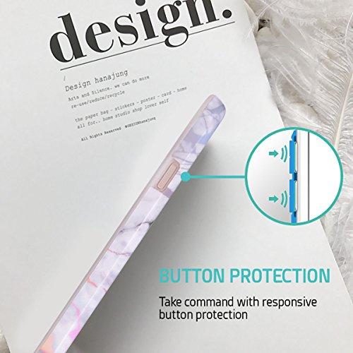 iPhone 8 Plus / iPhone 7 Plus Hülle, ZUSLAB Marmor Muster Schutzhülle, Weiche Flex TPU Silikon Bumper Case Ultra Dünn Handytasche für iPhone 8 Plus / iPhone 7 Plus Laser Weiß