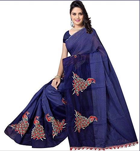 Indian Fashionista Women\'s Banarasi Cotton Saree with unstiched Blouse Piece
