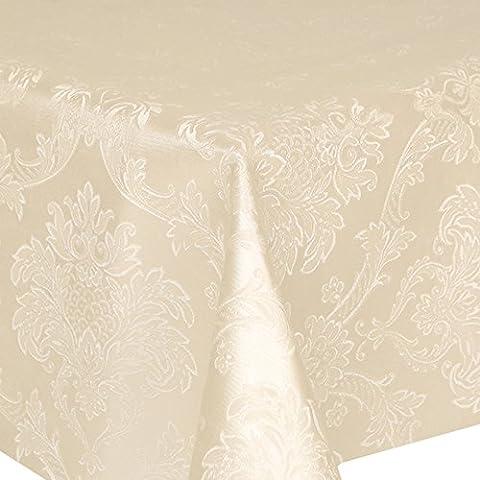 Tovaglia in PVC damascato Avorio 3,5metri (350cm X 140cm), di lusso, effetto goffrato, motivo a foglie, in cotone spazzolato Retro, Pulire, spessore vinile/plastica