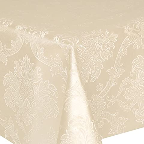 PVC Tablecloth Damask Ivory 2 Metres Oval (200cm x 140cm), Luxury Embossed Effect Floral Leaves, Brushed Cotton Backing, Wipe Clean, Vinyl / Plastic Thick Table