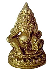 "Crafthut Brass Statue / Idol of Lord of Treasures 'Lord Kuber' Product Size (2.25""H x 1.5""W), Weight - 130 Gms"