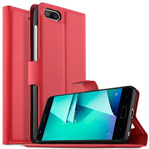 KuGi DOOGEE X20L Hülle Case, DOOGEE X20L Wallet Case, Brieftasche Case Hülle PU Kunstleder Flip Case mit Standfunktion Kartenfächer und Bargeld für DOOGEE X20L Smartphone.Rot