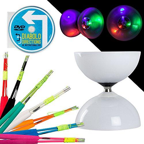 er Diabolo Set mit Farbigem SUPERGLASS Faser Sticks & Diabolo Richtungen Anleitung DVD. Select Stick Farbe. Inklusive Batterien, Green Sticks ()