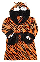 MiniKidz Supersoft Baby Tiger Striped Dressing Gown with Hood 2-3