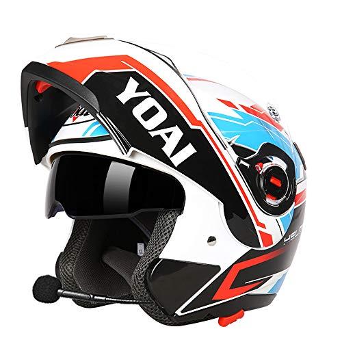 Preisvergleich Produktbild MJW Bluetooth Helm männliche Motorrad Semi voll überdachte Lokomotive Doppel Linse offenen Gesicht Helm weibliche elektrische Anti-Nebel-Full-Face-Helm, C, L