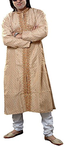 Exotic India Men's Beige Achkan with Jaal Embroidery and Beadwork - Beige