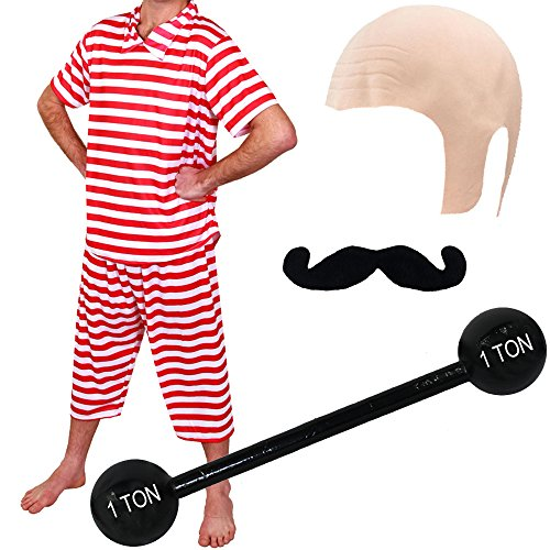 MENS STRONGMAN COSTUME CIRCUS STRONG MAN FANCY DRESS 1920'S 40'S STRONGMEN WEIGHT LIFTER STRIPED TOP + STRIPED TROUSERS + MOUSTACHE + INFLATABLE DUMBELL + BALD CAP