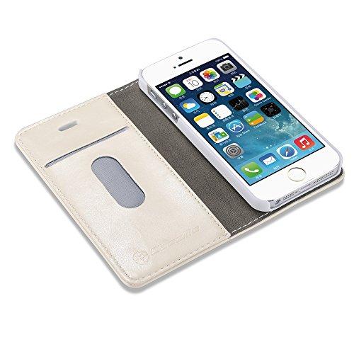 CaseMe Etui Cuir Protection Slim Case Wallet Leather Crazy Horse Coque Magnétique avec Carte pour iPhone 5 / iPhone SE / iPhone 5 Blanc