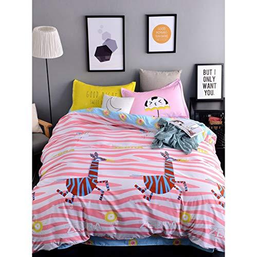 JSDJSUIT Bettwäsche gesetzt Bettbezug-Set 3/4 Stück Del Fumetto Zebra Comodo Cute Biancheria Da Casa-Full 4St (Zebra-rosa-bettwäsche-voll)