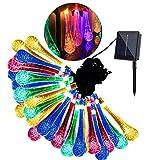 Luz Solar Para Jardín, Multicolor Colorido Gota De Lluvia Luces De Cadena 30 LED Luces De Hadas Luz Solar Para Agua Impermeable