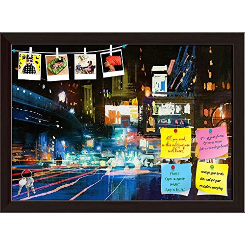 Artzfolio Modern Urban City Printed Bulletin Board Notice Pin Board | Dark Brown Frame 22.2 X 16Inch -